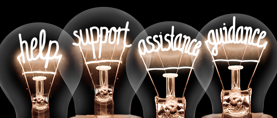 Lightbulbs with the words help, support, assistance and guidance