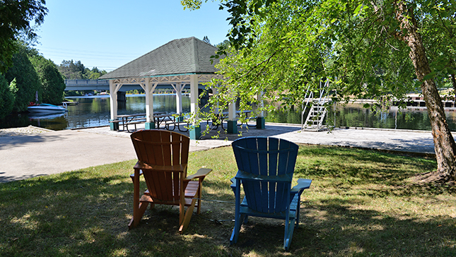 park with gazebo and muskoka chairs
