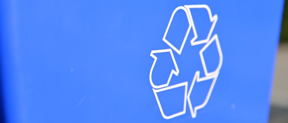 recycling symbol on a blue box